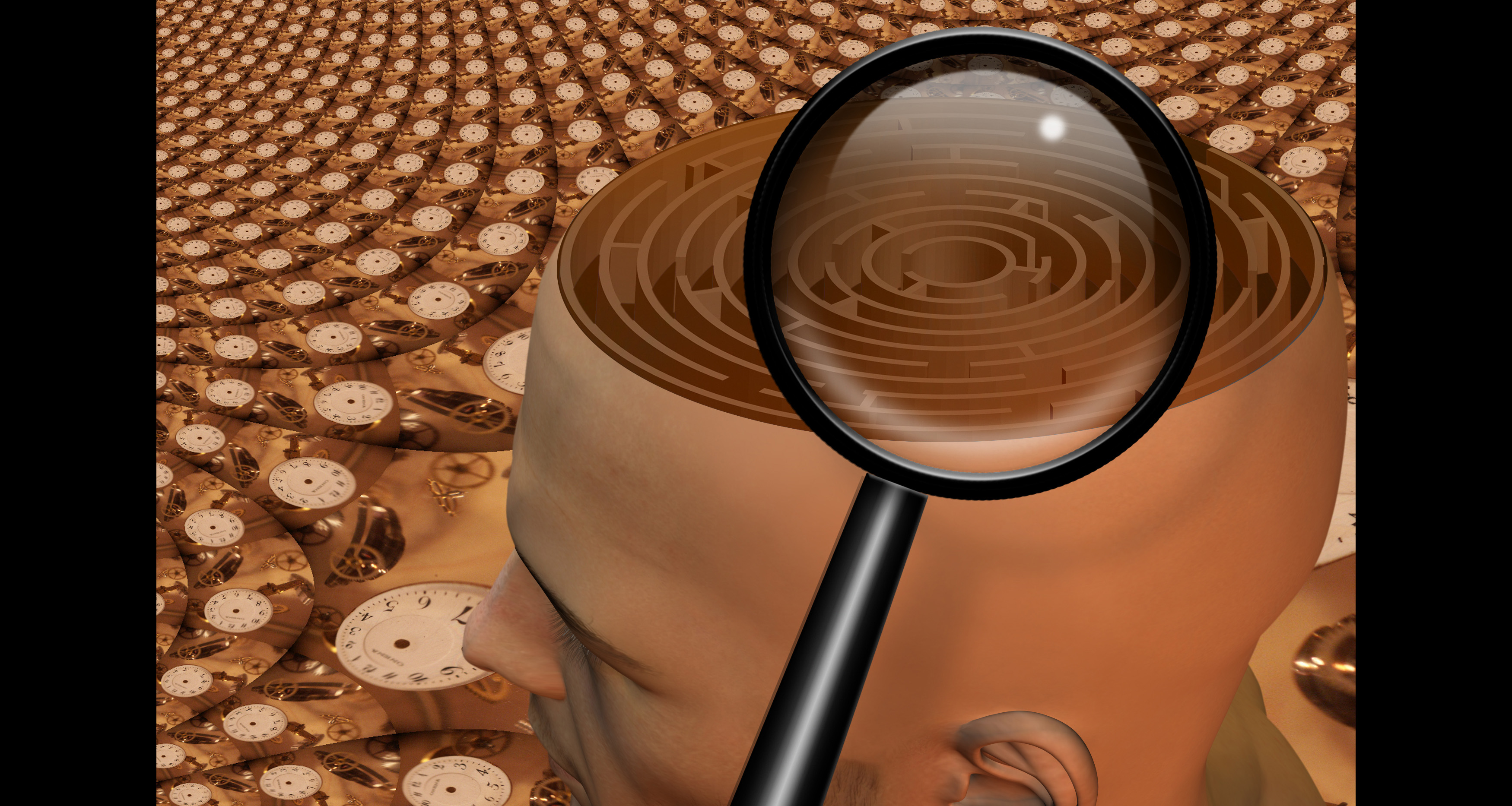Magnify glass and maze in man's head