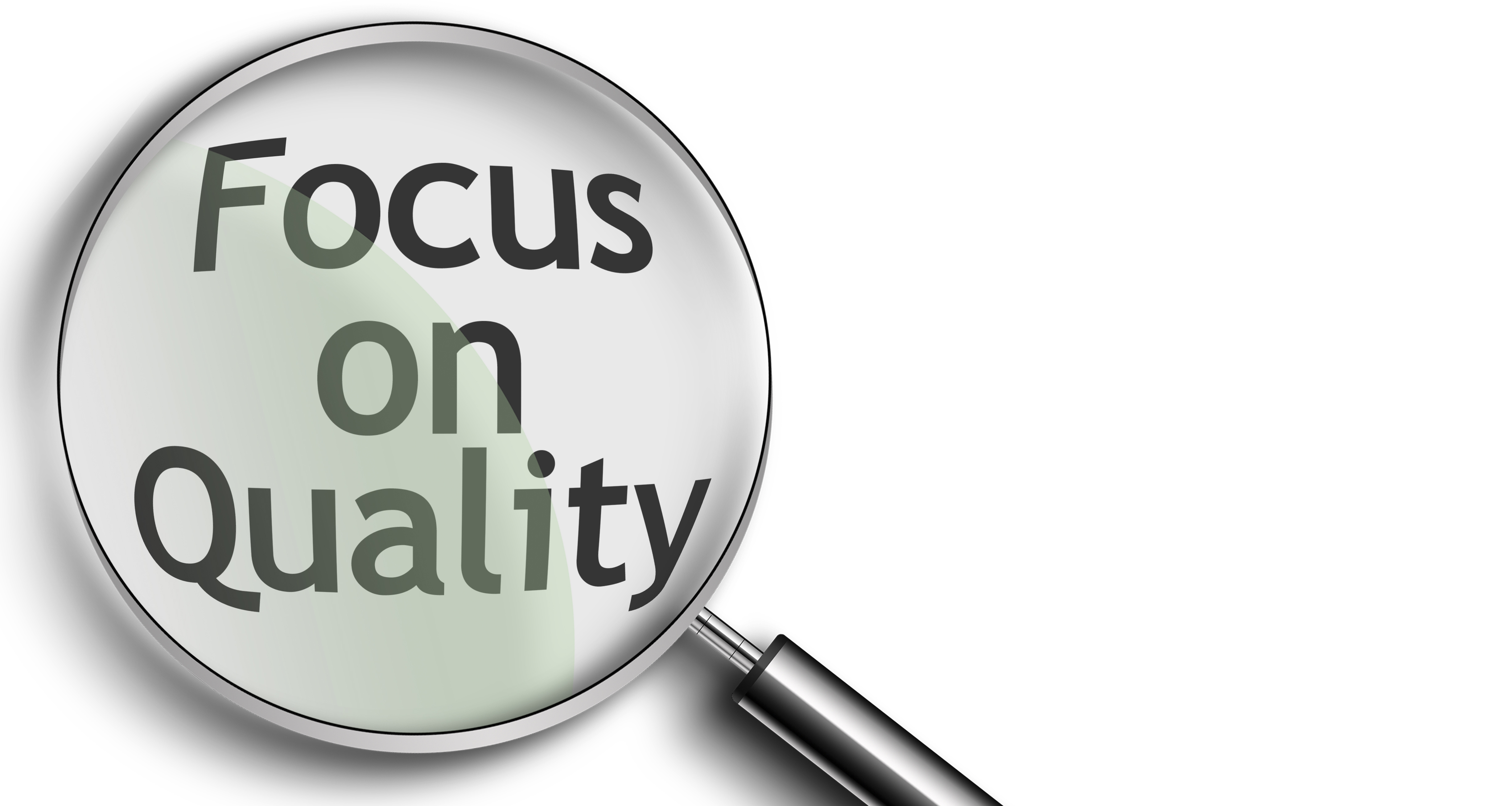 Magnifying Glass created in photoshop with the words focus on quality